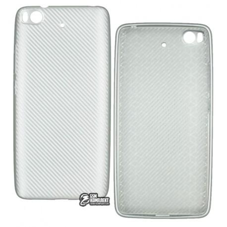 Чехол защитный для Xiaomi Mi5s, силиконовый, карбон, серебро