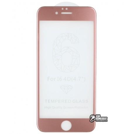 Закаленное защитное стекло 4D Glass для Apple iPhone 6, iPhone 6S, 3D, 0,3 мм 9H, Rose Gold