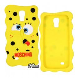 Чехол 3D Губка Боб для Samsung I337 Galaxy S4, I545, I9500, I9505, I9506, I9507, M919, силиконовый, желтый