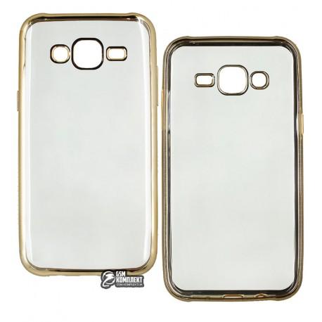 Чехол защитный для Samsung J500 Galaxy J5, силиконовый, с цветной рамкой, со стразами, золото