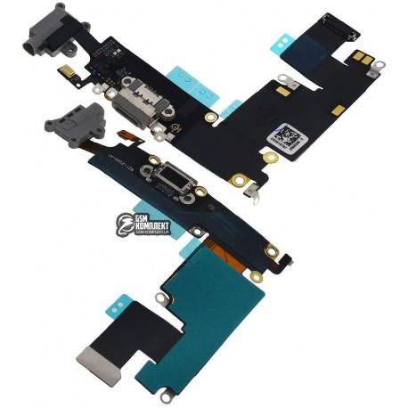 Шлейф для Apple iPhone 6 Plus, черный, коннектора наушников, коннектора зарядки, с компонентами, с микрофоном