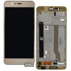 Дисплей для Asus Zenfone 3 Max (ZC520TL), золотистый, с рамкой, с сенсорным экраном