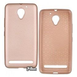 Чехол защитный для Lenovo Vibe C2 (K10A40) силиконовый, карбон, розовое золото