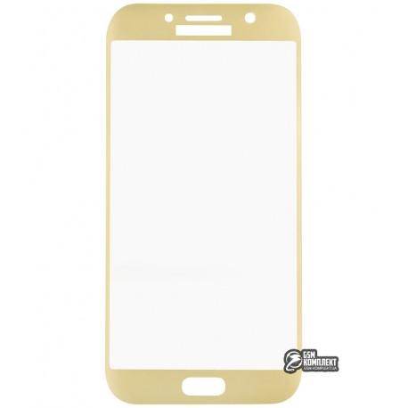 Загартоване захисне скло для Samsung A720 Galaxy A7 (2017), 3D, с закругленными углами, 0,26 мм 9H, Золоте