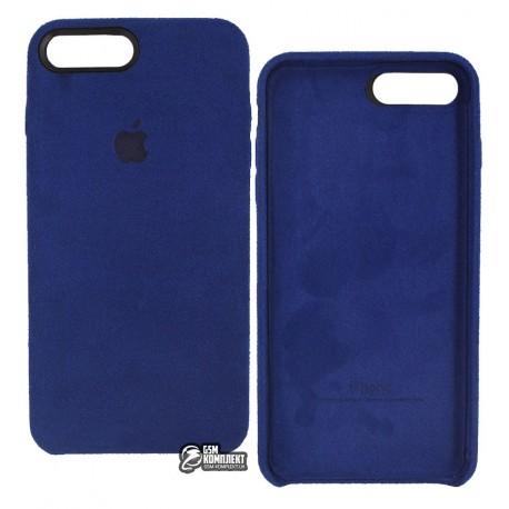 Чехол накладка Alcantara для iPhone 8 Plus, синяя