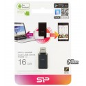 Флешка 16 Gb, USB + OTG Flash Drive 16 Gb SILICON POWER Mobile X21 Black for Android