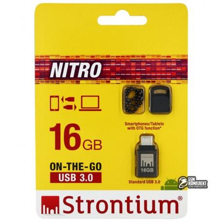 Флешка 16 Gb, USB3.0 + OTG, STRONTIUM OTG Nitro Silver 100Mbps (SR16GBBOTG2Z)
