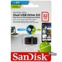 Флешка 32 Gb, USB3.0 + OTG SanDisk Ultra Dual OTG 130Mb / s (SDDD2-032G-G46)