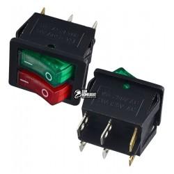 Переключатель клавишный широкий сдвоенный с подсветкой, 220V, красный + зеленый