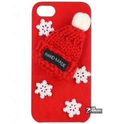 Чехол-накладка для iPhone 6, новогодняя, alcantara, красная