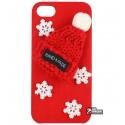 Чехол-накладка для iPhone 6 / 6S, новогодняя, alcantara, красная