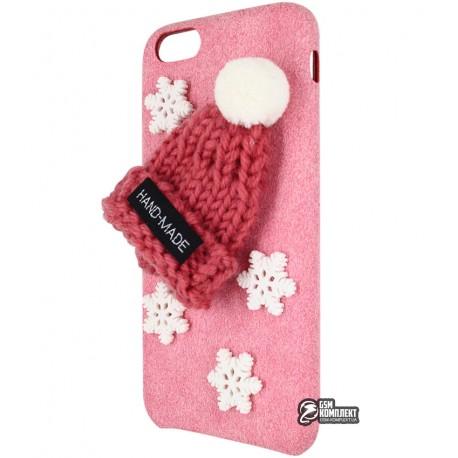 Чехол-накладка для iPhone 6, новогодняя, alcantara, розовая