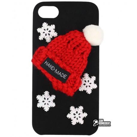 Чехол-накладка для iPhone 6, новогодняя, alcantara, черная