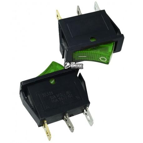 Переключатель клавишный узкий с подсветкой, 220V, зеленый