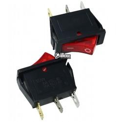 Выключатель клавишный узкий с подсветкой, 220V, красный