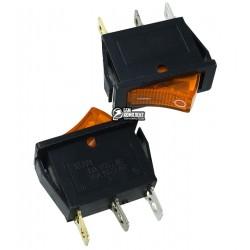 Выключатель клавишный узкий с подсветкой, 220V, желтый