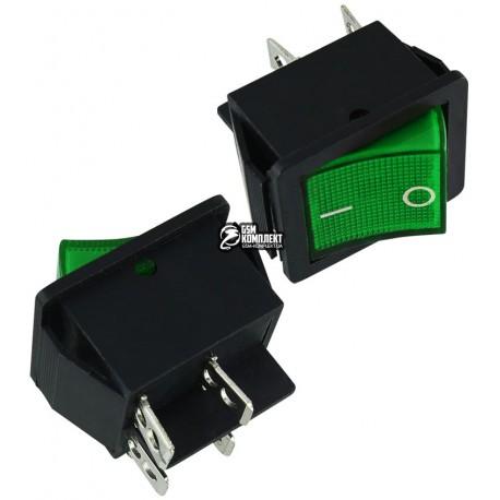 Вимикач клавішний IRS-201-1C зелений, 4pin
