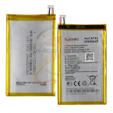 Аккумулятор TLp034B2 для ALCATEL One Touch Pop S9 Hero N3 A995L, TCL Y910, Y910t, (Li-Polymer, 3400 мАч)