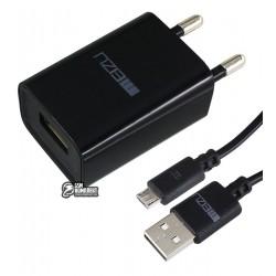 Зарядное устройство Meizu, 1A, 1USB, с MicroUSB кабелем, черное