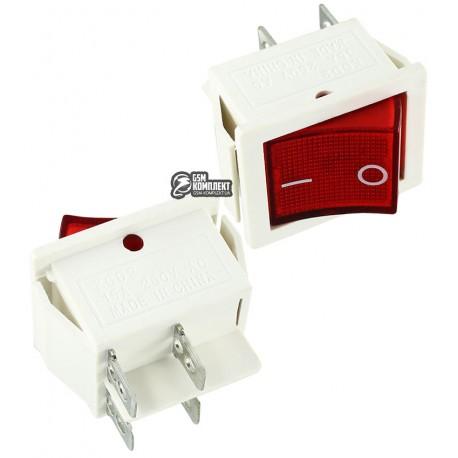 Вимикач клавішний IRS-201-1C красный, белый корпус, 4pin