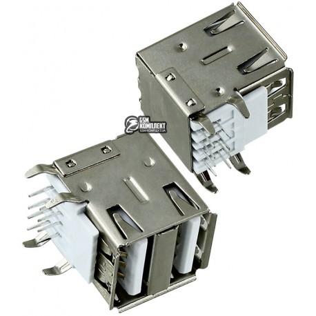 Гніздо USB-02-2-FD-90 USB-A сдвоенное горизонтальное