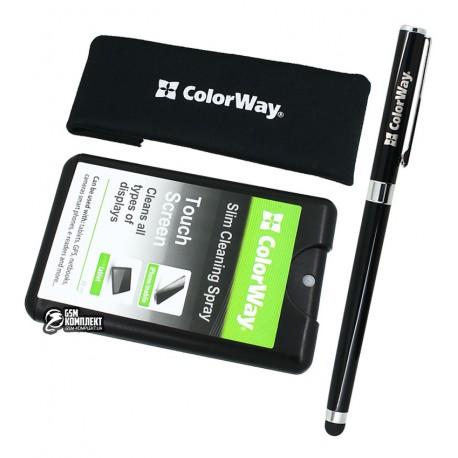 Набор чистящий ColorWay, для ноутбуков, планшетов, смартфонов: Гель для очистки 20 мл, салфетка микрофибра, универсальная ручка-