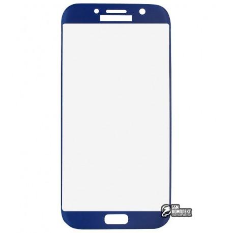 Загартоване захисне скло для Samsung A720 Galaxy A7 (2017), 3D, с закругленными углами, 0,26 мм 9H, синее