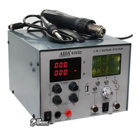 Термоповітряна паяльна станція AIDA 9305D фен, паяльник, блок питания (30V 4.5A, USB 5V 2A) цифровая индикация