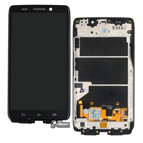 Дисплей для Motorola XT1080 Droid Ultra, черный, с рамкой, с сенсорным экраном