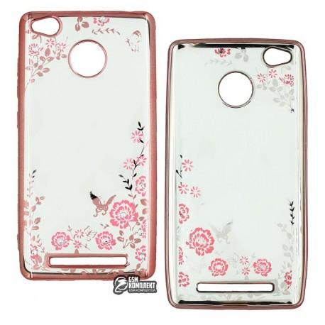 Чехол защитный Secret Garden Swarovski для Xiaomi RedMi 3s, силиконовый, розовый