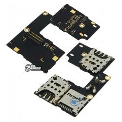 Коннектор SIM-карты для Motorola XT1544 Moto G3 (3nd Gen), XT1550 Moto G3 (3nd Gen), на две SIM-карты, со шлейфом