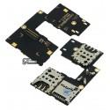 Коннектор SIM-карты для Motorola XT1544 Moto G3 (3nd Gen), XT1550 Moto G3 (3nd Gen), на две SIM-карты, с коннектором карты памяти, со шлейфом