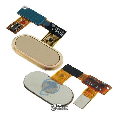 Шлейф для Meizu U20, кнопки меню, золотистый