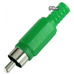 RCA штекер на кабель зеленый пластик