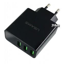 Сетевое зарядное устройство USAMS US-CC035 3USB LED Display черное