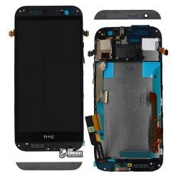 Дисплей для HTC One M8 Dual SIM, черный, с сенсорным экраном, с передней панелью