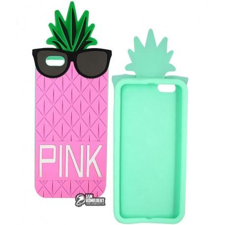 Чехол защитный Pineapple для iPhone 6, iPhone 6s, розовый + зеленый