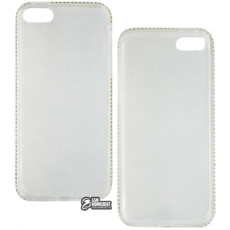 Чехол защитный Swarovski для Apple iPhone 5, 5s, 5SE, 5g, силиконовый, со стразами, прозрачный