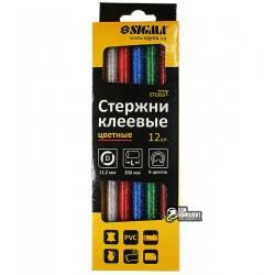 Термоклей цветной D11 мм, 200 мм, набор 12шт