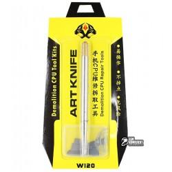 Набор для ремонта микросхем AIDA A-800/W120 (ручка с цангой, 10 тонких металлических лопаток)