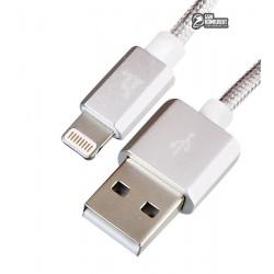 Кабель Lightning - USB, Hoco UPF01 MFI (Apple iOS authorized), для iPhone 5/6/7, круглый, 1 метр, в тканевой оплетке, серебро