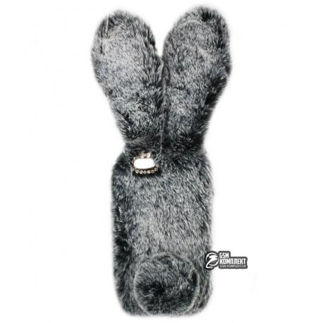 Чехол защитный Kisscase для iPhone 7 / 8, меховой кролик, серый