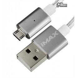 Кабель Micro-USB - USB, Metal Magnetic, магнитный, 1 метр, 2A, в тканевой оплетке
