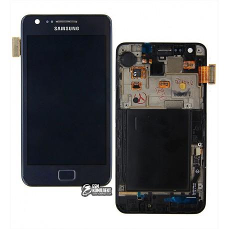 Дисплей для Samsung I9105 Galaxy S2 Plus, синий, с сенсорным экраном (дисплейный модуль),с рамкой