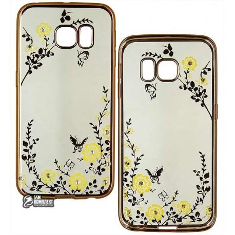 Чехол защитный Secret Garden Swarovski для Samsung Galaxy G925, S6 Edge, силиконовый, золотой