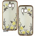 Чохол для Samsung G925 Galaxy S6 Edge, Secret Garden Swarovski, силіконовий, золота рамка, жовта квітка