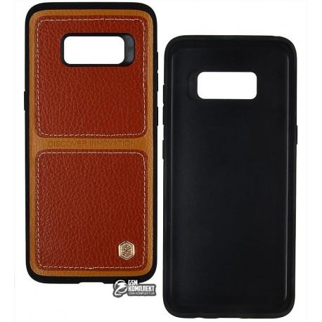 Чехол защитный Nillkin Burt для Samsung G950F Galaxy S8, силикон + кожа, коричневый