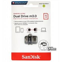 Флешка 16Gb, SanDisk Ultra, USB3.0 + OTG MicroUsb