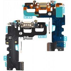 Шлейф для Apple iPhone 7, белый, коннектора зарядки, коннектора наушников, с компонентами