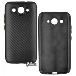 Чехол защитный для Huawei Ascend Y3-2017, силиконовый, карбон, черный